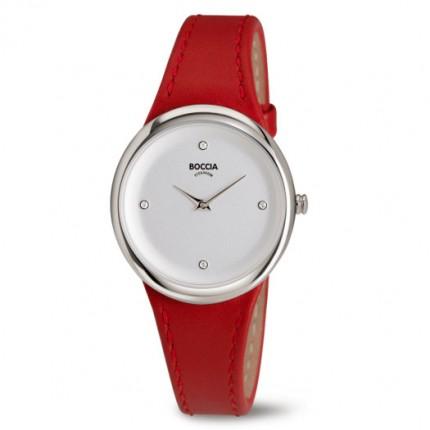 Boccia Titanium Damenuhr Trend Leder Rot 3276-05