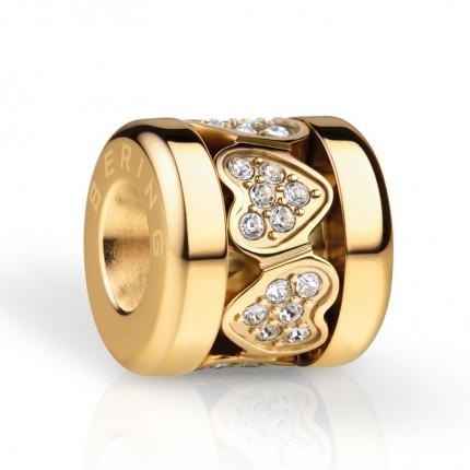 Bering Charm Edelstahl Gold Swarovski SparklingHeart-2