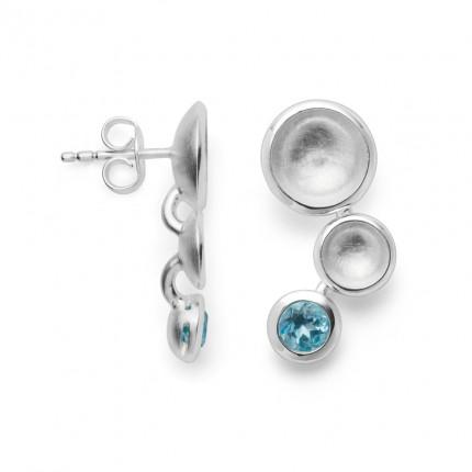 Bastian Inverun Ohrstecker 925/- Silber Rhodiniert mit Blautopas 38361