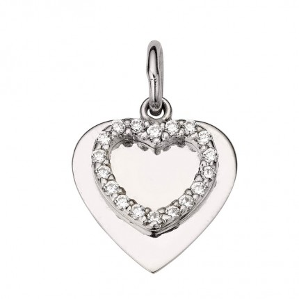 CEM Anhänger Silber Rhodiniert Gravurplatte Herz Zirkonia BAH905405