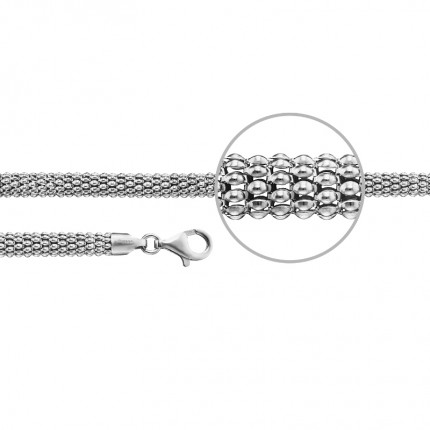 DER KETTENMACHER Koreanerarmband Silber Rhodiniert Tondo 6,4mm COR2-19S