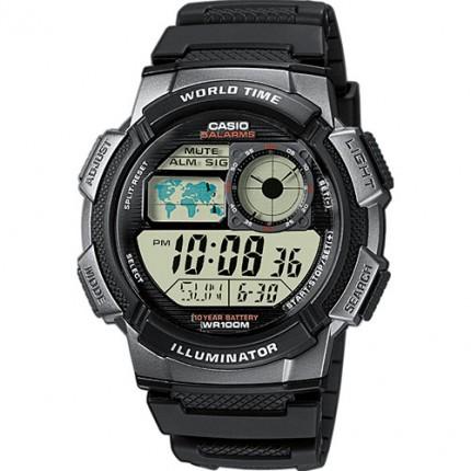 Casio Armbanduhr Collection Schwarz Weltzeit AE-1000W-1BVEF