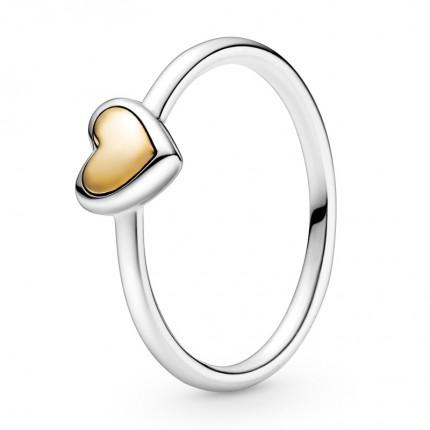 PANDORA Silber Ring Bicolor Domed Golden Heart 199396C00