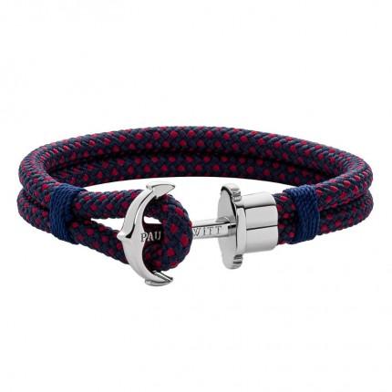 Paul Hewitt PHREPS Armband Nylon Silber Marineblau Rot PH002277
