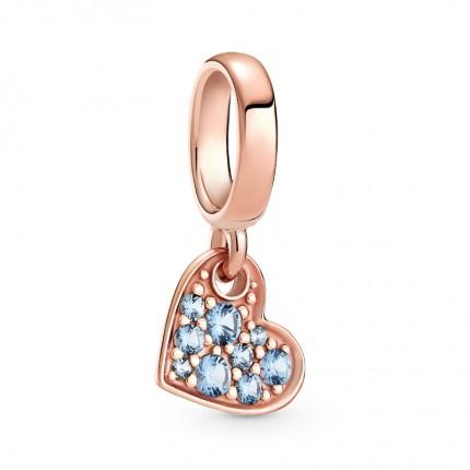 PANDORA Anhänger 14k rose gold plattiert Light Blue Pavé Tilted Heart 789404C01