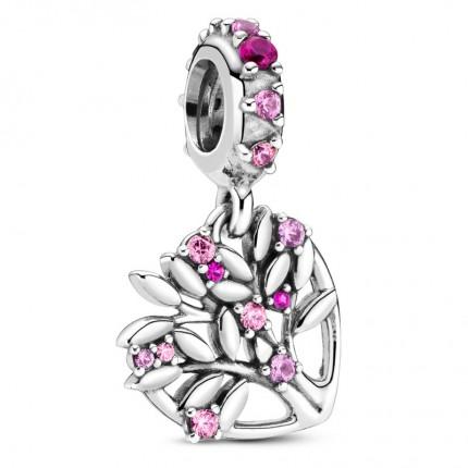 PANDORA Silberelement Anhänger Pink Heart Family Tree 799153C01
