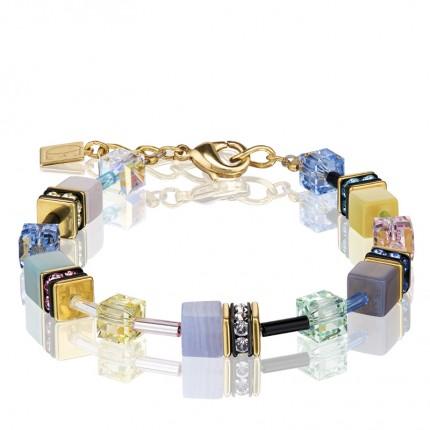 COEUR DE LION Armband Geo Cube Swarovski-Kristalle Edelsteine Multicolor Romance 4905/30-1566