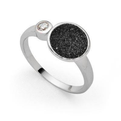 DUR Ring Silber Rhodiniert Polarstern Lavasand R5280