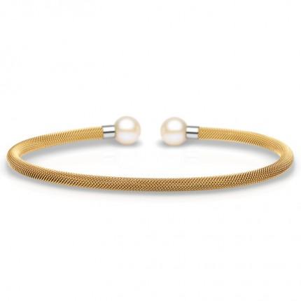 Bering Armreif Edelstahl Gold Mesh Perlen 626-250-X0