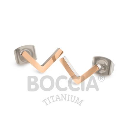Boccia Ohrschmuck Titan V-Form Roségold 05024-03