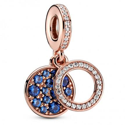 PANDORA Charm-Anhänger 14k rose gold plattiert Sparkling Blue Disc 789186C01