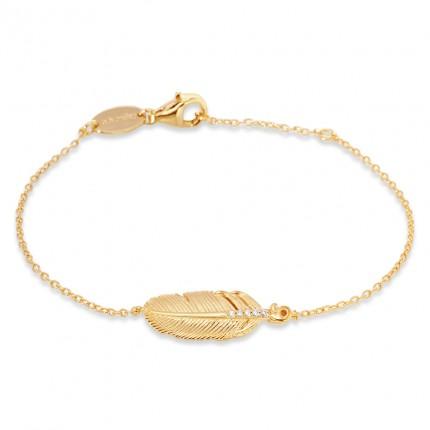 Engelsrufer Armband Silber Gold plated Feder Zirkonia ERB-LILFEDER-ZI-G