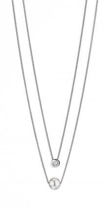 ADRIANA Collier 2-reihig Silber Rhodiniert Süßwasserperle Zirkonia R120