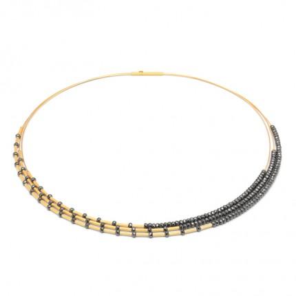 BERND WOLF Collier CLEA Silber Goldplattierung Hämatin 85363206-43