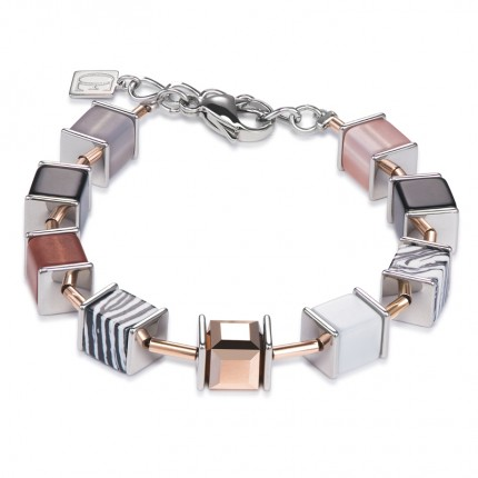 COEUR DE LION Armband Geo Cube Swarovski-Kristalle-Malachit Nude 4747/30-1022