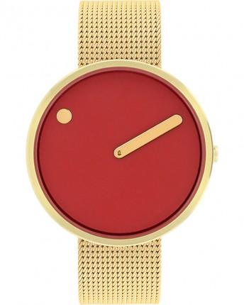 PICTO Armbanduhr Unisex Edelstahl Rot Gold Meshband 43397-0920