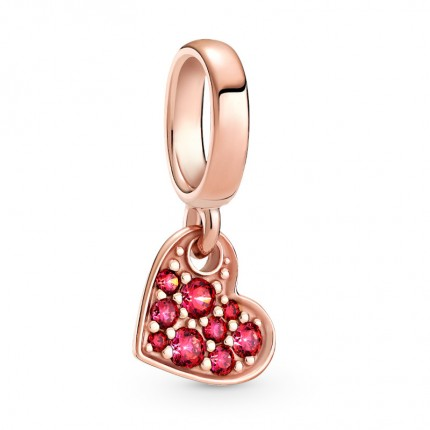 PANDORA Anhänger 14k rose gold plated Red Pavé Tilted Heart 789404C02