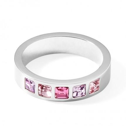 COEUR DE LION Ring Edelstahl Square Kristall Rosa 0130/40-1917