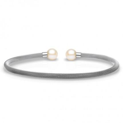 Bering Armreif Edelstahl Mesh Perlen 626-150-X0
