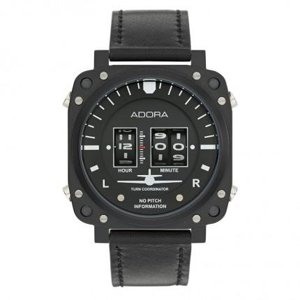 ADORA DRUM Roller Armbanduhr Edelstahl Schwarz Lederband Schwarz AR1059