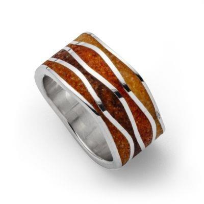 DUR Ring Silber Rhodiniert Bernsteinwelle Bernsteinsand R5404