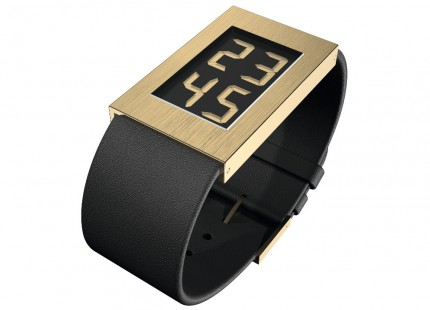 ROSENDAHL Armbanduhr Digital Watch I Large Edelstahl Gold Lederband Schwarz 43282