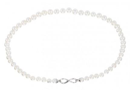 ADRIANA Perlenkette Infinity Silber Rhodiniert Süßwasserperlen A184