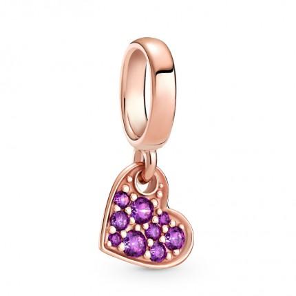 PANDORA Anhänger 14k rose gold plated Purple Pavé Tilted Heart 789404C03
