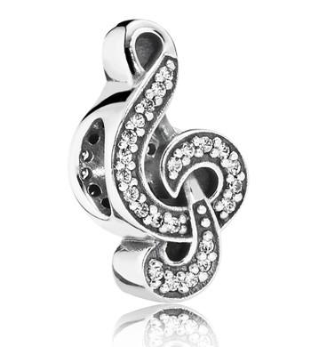 PANDORA Silberelement Notenschlüssel Süße Musik 791381 CZ