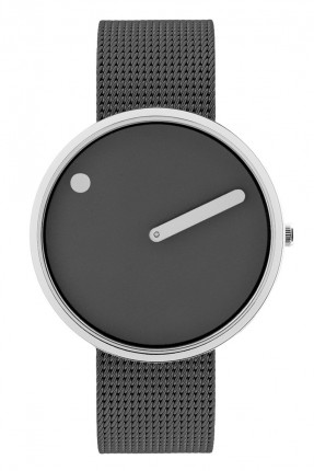 PICTO Armbanduhr Unisex Edelstahl Meshband Grau 43352-1220