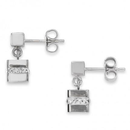 COEUR DE LION Ohrschmuck Cube Silber Kristalle 4967/21-1700