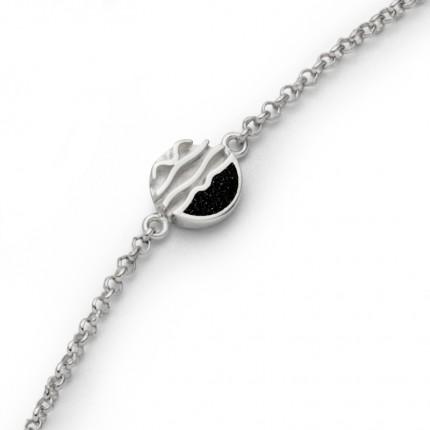 DUR Armband Silber Lavasand Ebbe & Flut A1654