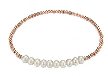 ADRIANA Perlenarmband Silber Rosévergoldet Süßwasserperlen A127