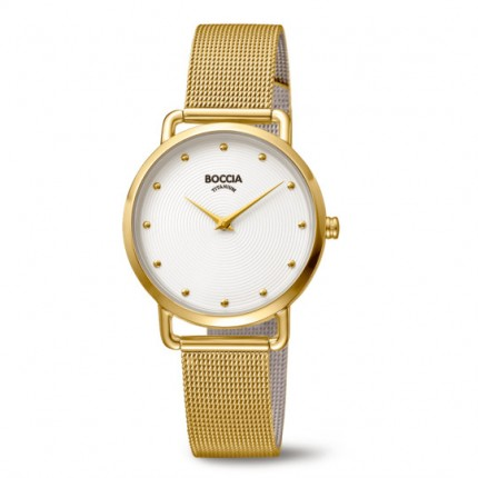 Boccia Titanium Style Damenuhr Milanaiseband Gold 3314-06