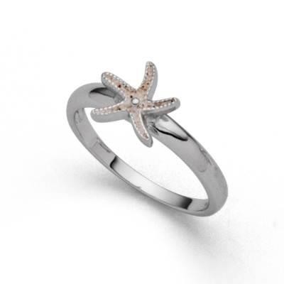 DUR Ring Silber Rhodiniert Seestern Mini Strandsand R5426