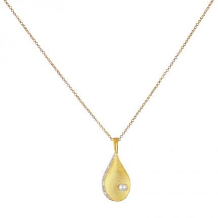 BERND WOLF Collier AQUAPERLA Silber Goldplattiert Zirkonia 85322656-41-45