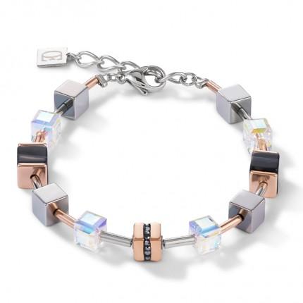 COEUR DE LION Armband Geo Cube Roségold Schwarz 4965/30-1630