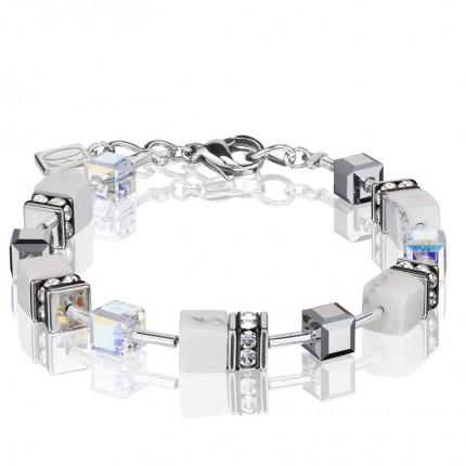 COEUR DE LION Armband Geo Cube Howlith Weiß 4018/30-1400
