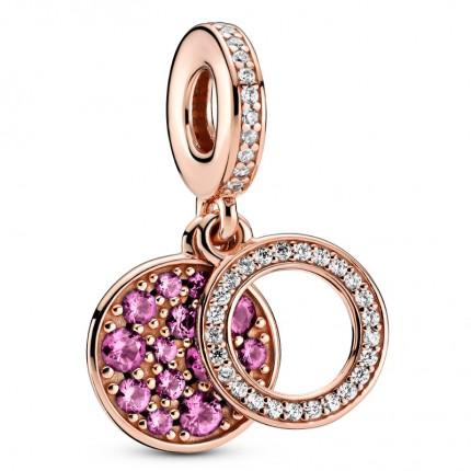 PANDORA Charm Anhänger 14k rose gold plattiert Sparkling Rose Disc 789186C02