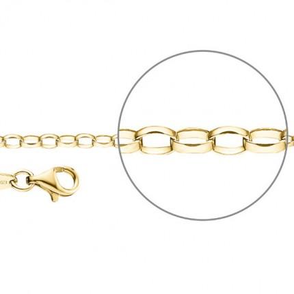 DER KETTENMACHER Sterlingsilber Gold Plated Ankerkette Oval 2,6mm A1-G