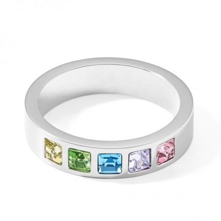 COEUR DE LION Ring Edelstahl Square Kristall Multi-Pastell 0130/40-1580