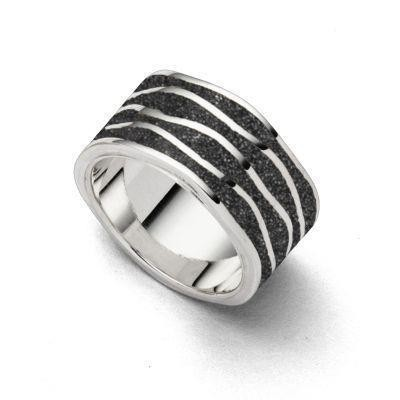 DUR Ring Silber Rhodiniert Ebbe & Flut Lavasand R4832