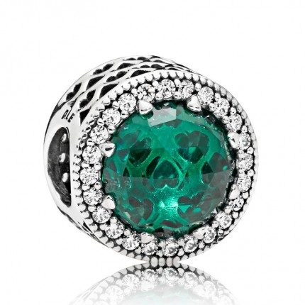 PANDORA Silberelement Grüner Strahlenkranz der Herzen 791725NSG