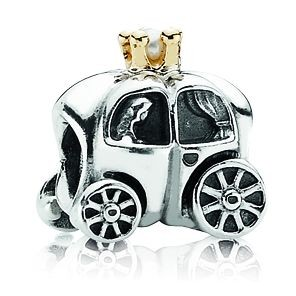 PANDORA Silberelement Königliche Kutsche mit Gold und Perle 790598P
