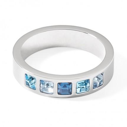 COEUR DE LION Ring Edelstahl Square Kristall Blau 0130/40-0717