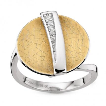 CEM Ring 925/- Silber Bicolor Brillant S-00645R