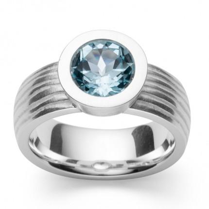 Bastian Inverun Ring 925/- Silber Rhodiniert Blautopas 39551
