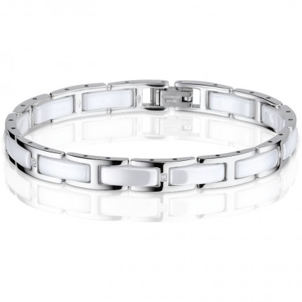 Bering Armband Edelstahl Keramik Weiß 612-15-185