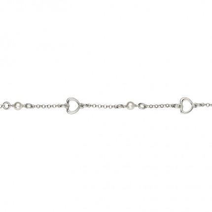 CEM Armband Silber Herz Perle Imitation BAS96305/20