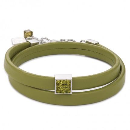 COEUR DE LION Armband Leder Kristalle Pavé Oliv 0117/30-0900